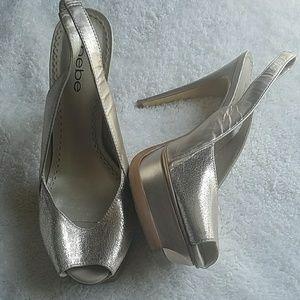 bebe Gold Heels Size 7